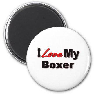 Amo mi mercancía del perro del boxeador imanes para frigoríficos