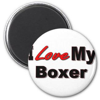 Amo mi mercancía del perro del boxeador imán de frigorifico