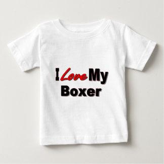 Amo mi mercancía del perro del boxeador playera de bebé