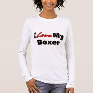 Amo mi mercancía del perro del boxeador playera de manga larga