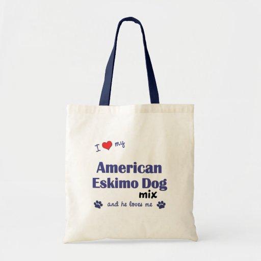 Amo mi mezcla americana del perro esquimal (el per bolsas