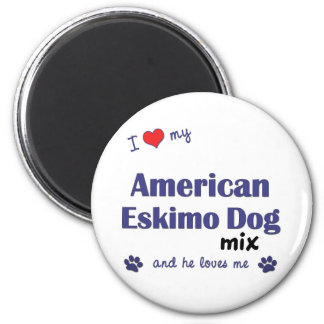 Amo mi mezcla americana del perro esquimal (el per imán redondo 5 cm