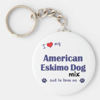 Amo mi mezcla americana del perro esquimal (el per llavero redondo tipo pin
