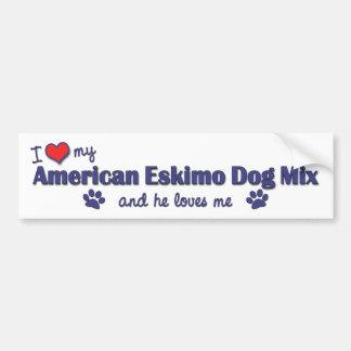 Amo mi mezcla americana del perro esquimal (el per pegatina para auto