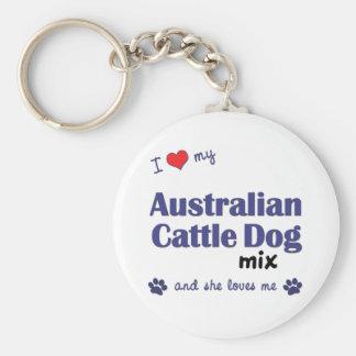 Amo mi mezcla australiana del perro del ganado (el llavero redondo tipo pin