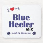 Amo mi mezcla azul de Heeler (el perro masculino) Tapete De Ratones