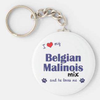 Amo mi mezcla belga de Malinois (el perro masculin Llavero Redondo Tipo Pin