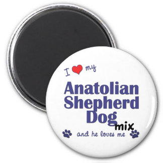 Amo mi mezcla de Anatolia del perro de pastor (el  Imán Redondo 5 Cm