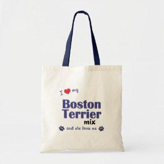 Amo mi mezcla de Boston Terrier el perro femenino Bolsas