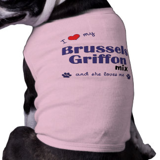 Amo mi mezcla de Bruselas Griffon (el perro femeni Playera Sin Mangas Para Perro