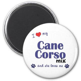 Amo mi mezcla de Corso del bastón (el perro femeni Imán Redondo 5 Cm