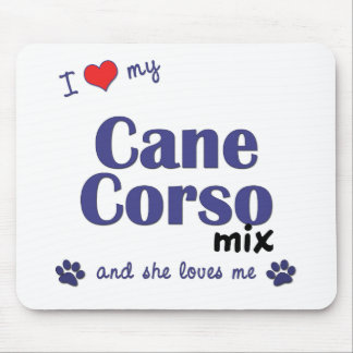 Amo mi mezcla de Corso del bastón (el perro femeni Tapete De Ratón