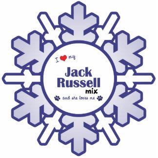 Amo mi mezcla de Jack Russell (el perro femenino) Adorno Fotoescultura