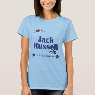 Amo mi mezcla de Jack Russell (el perro femenino) Playera