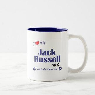 Amo mi mezcla de Jack Russell (el perro femenino) Taza De Café De Dos Colores