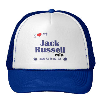 Amo mi mezcla de Jack Russell (el perro masculino) Gorros Bordados