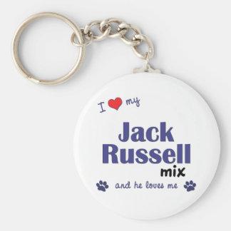 Amo mi mezcla de Jack Russell (el perro masculino) Llavero Redondo Tipo Pin