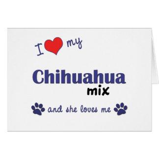 Amo mi mezcla de la chihuahua el perro femenino tarjetas