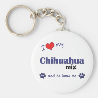 Amo mi mezcla de la chihuahua (el perro masculino) llavero redondo tipo pin