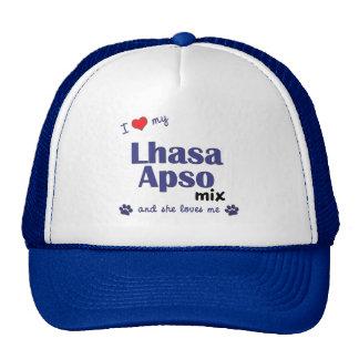 Amo mi mezcla de Lasa Apso (el perro femenino) Gorro