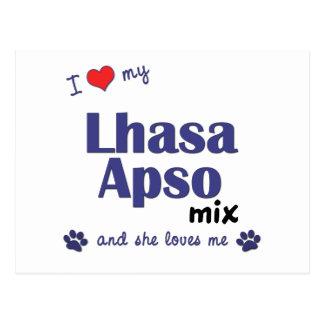 Amo mi mezcla de Lasa Apso (el perro femenino) Postal