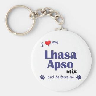 Amo mi mezcla de Lasa Apso (el perro masculino) Llavero Redondo Tipo Pin