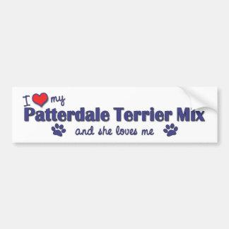 Amo mi mezcla de Patterdale Terrier (el perro feme Pegatina De Parachoque