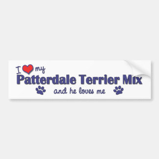 Amo mi mezcla de Patterdale Terrier (el perro masc Etiqueta De Parachoque