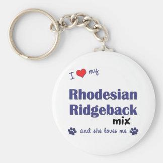 Amo mi mezcla de Rhodesian Ridgeback (el perro fem Llavero Redondo Tipo Pin
