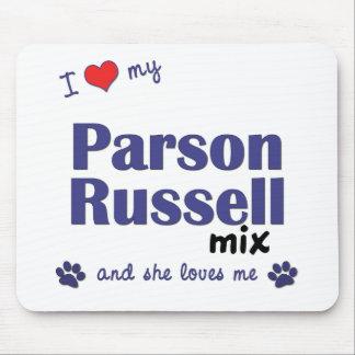Amo mi mezcla de Russell del párroco (el perro fem Alfombrillas De Ratón