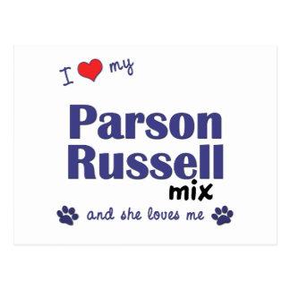 Amo mi mezcla de Russell del párroco (el perro Tarjeta Postal