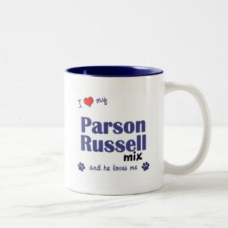 Amo mi mezcla de Russell del párroco (el perro Taza De Dos Tonos