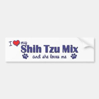 Amo mi mezcla de Shih Tzu (el perro femenino) Pegatina Para Auto