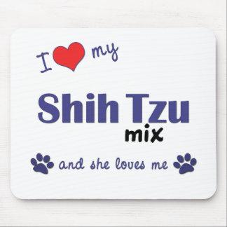 Amo mi mezcla de Shih Tzu (el perro femenino) Tapete De Ratones