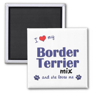 Amo mi mezcla de Terrier de frontera (el perro fem Iman De Nevera