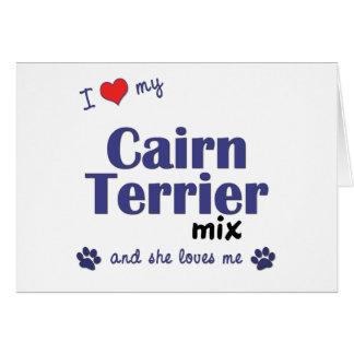 Amo mi mezcla de Terrier de mojón (el perro femeni Tarjeta De Felicitación
