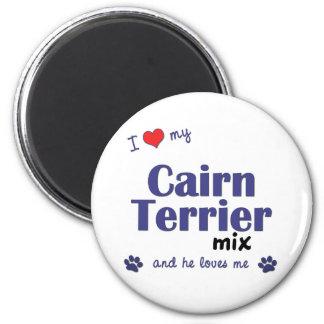 Amo mi mezcla de Terrier de mojón (el perro mascul Imán Redondo 5 Cm