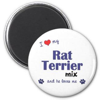 Amo mi mezcla de Terrier de rata (el perro masculi Imán Redondo 5 Cm