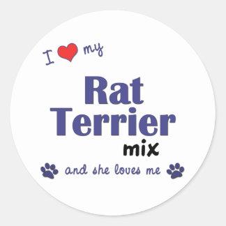 Amo mi mezcla de Terrier de rata (el perro Pegatina Redonda