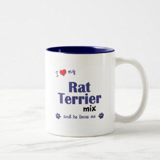 Amo mi mezcla de Terrier de rata (el perro Taza De Dos Tonos