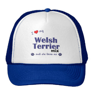 Amo mi mezcla de Terrier galés (el perro femenino) Gorras