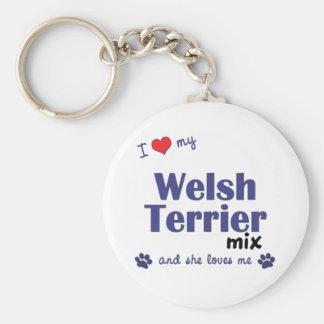 Amo mi mezcla de Terrier galés (el perro femenino) Llavero Personalizado