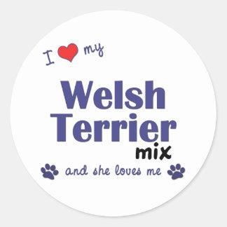 Amo mi mezcla de Terrier galés (el perro femenino) Pegatinas Redondas