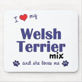 Amo mi mezcla de Terrier galés (el perro femenino) Alfombrillas De Ratón