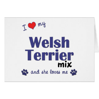 Amo mi mezcla de Terrier galés (el perro femenino) Felicitacion
