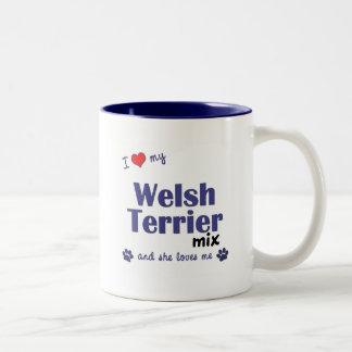 Amo mi mezcla de Terrier galés (el perro femenino) Taza De Café