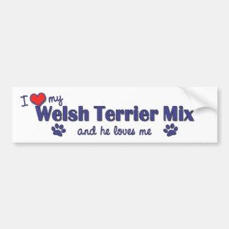 Amo mi mezcla de Terrier galés (el perro masculino Pegatina De Parachoque