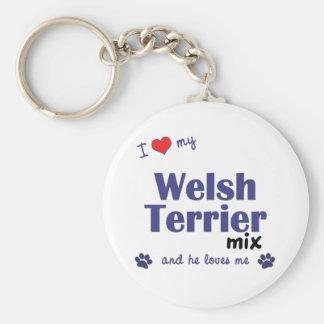 Amo mi mezcla de Terrier galés (el perro masculino Llaveros Personalizados