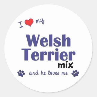 Amo mi mezcla de Terrier galés (el perro masculino Pegatinas Redondas