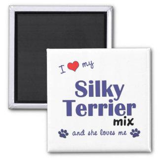 Amo mi mezcla de Terrier sedoso (el perro femenino Imán De Frigorifico